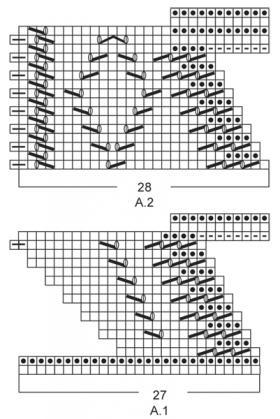 Треугольная шаль платочным узором - Схема 1