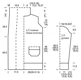 Удлиненный кардиган с шалевым воротником и карманами - Выкройка 1
