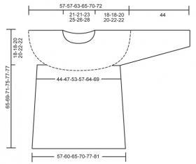 Пуловер крючком с круглой плотной кокеткой - Выкройка 1