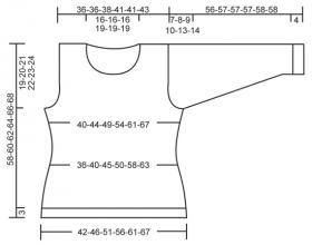 Джемпер спицами с вырезом лодочка и ажурным мотивом - Выкройка 1