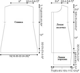 Вязаный женский жилет спицами рельефным узором - Выкройка 1