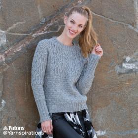 Пуловер с круглым воротником и рельефными узорами - Фото 3