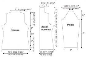 Кардиган спицами платочным узором - Выкройка 1