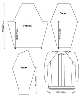 Пуловер реглан спицами из твидовой пряжи - Выкройка 1