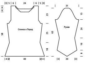 Приталенный пуловер с воротником стойка - Выкройка 1