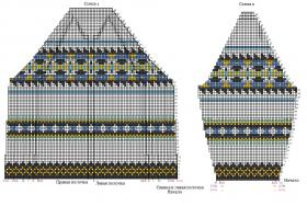 Жаккардовый кардиган спицами на пуговицах - Схема 1
