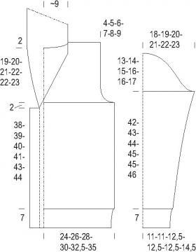 Кардиган с ромбами и жгутами на пуговицах - Выкройка 1