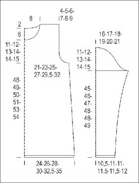 Удлиненный пуловер со жгутами и воротником гольф - Выкройка 1
