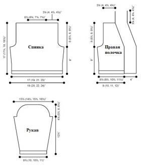 Короткий жакет спицами с воротником шалька - Выкройка 1