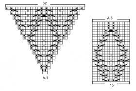 Жакет с листьями с прямыми полочками - Схема 3