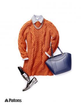 Свитер-платье с рельефными узорами