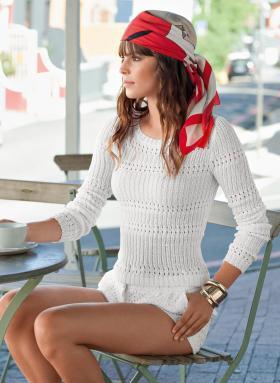 Пуловер резинкой с ажурными дорожками