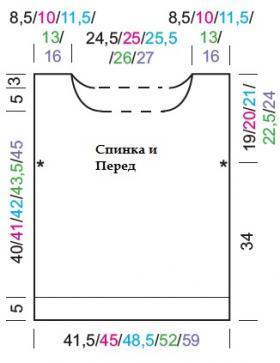 Топ с теневым узором из секционной пряжи - Выкройка 1