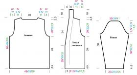 Классический кардиган с планкой платочным узором - Выкройка 1