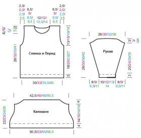 Пуловер с теневым узором и капюшоном - Выкройка 1