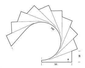 Шаль с кисточками частичным вязанием - Выкройка 1