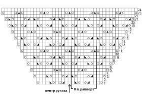 Топ ажурными рукавами реглан - Схема 2