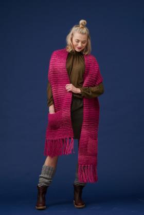 Объемный шарф с карманами платочным узором - Фото 1