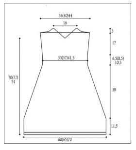 Летнее короткое платье на бретелях - Выкройка 1