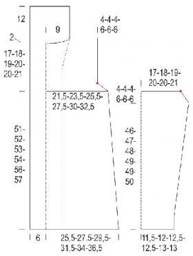 Рельефный кардиган с шалевым воротником - Выкройка 1