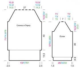 Туника с широким воротником и рельефными узорами - Выкройка 1
