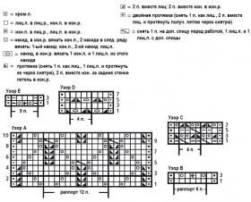 Свободный свитер с ажурными узорами - Схема 1