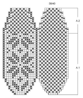 Тапочки спицами со снежинкой - Схема 2