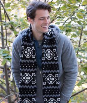 Жаккардовый шарф для мужчин спицами
