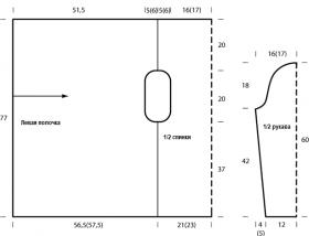 Кардиган с прямыми полочками поперек - Выкройка 1
