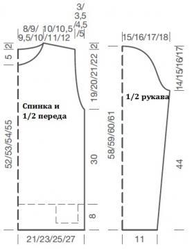 Пуловер с асимметричной деталью по краю - Выкройка 1