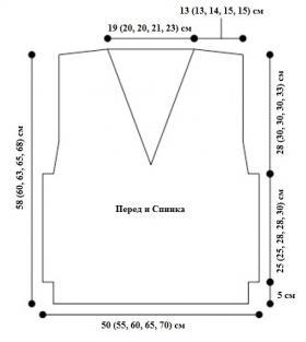 Жилет с узором жгуты - Выкройка 1
