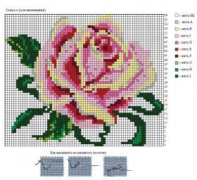 Свитер спицами с розой - Схема 2