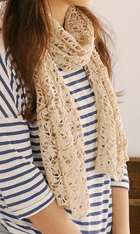 Бежевый ажурный шарф - Фото 1