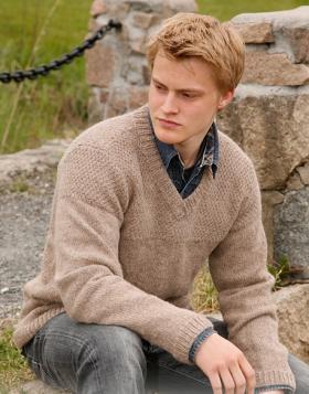 Бежевый свитер с V-образным вырезом - Фото 1