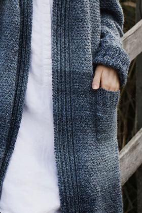 Длинный кардиган с карманами теневыми узорами - Фото 1