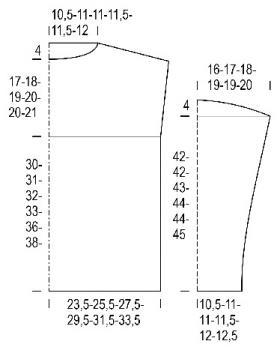 Текстурный свитер со снятыми петлями из двух видов пряжи - Выкройка 1