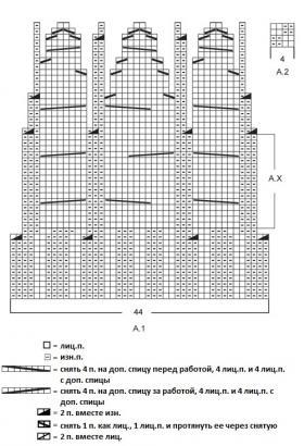 Мужская шапка со жгутами - Схема 1