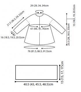 Детское пальто спицами с капюшоном - Выкройка 1