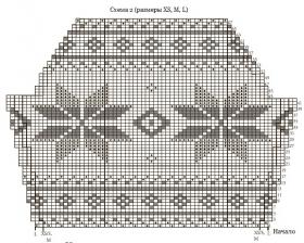 Свитер спицами со снежинками - Схема 5