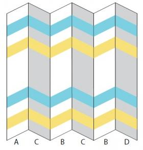 Трехцветное покрывало спицами с шевронами - Выкройка 1