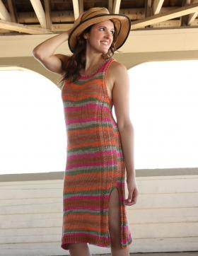 Летнее платье на бретелях в полоску - Фото 1