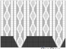 Шапка с ушками с узорами из аранов - Схема 1