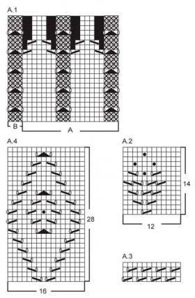 Ажурный жакет спицами с рукавом реглан - Схема 1