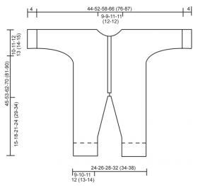 Комбинезон платочной вязкой спицами - Выкройка 1