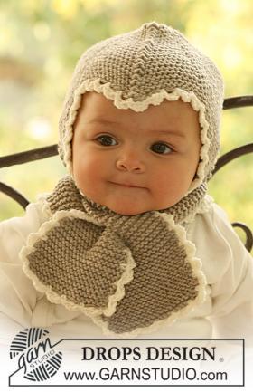 Чепчик и шарф спицами для малыша