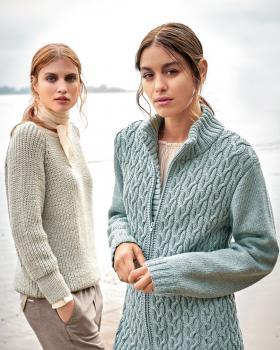 Пуловер с рукавом реглан полупатентной резинкой