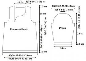 Кофта с рукавом три четверти спицами - Выкройка 1