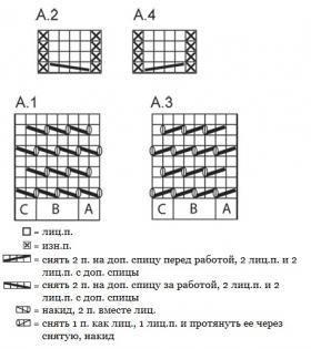 Носки спицами с узором сетка - Схема 1