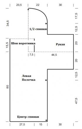 Жакет шраг рельефным узором - Выкройка 1