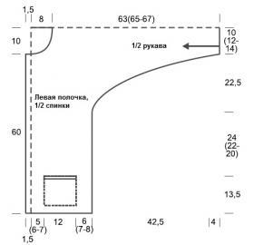 Кардиган поперечным вязанием с карманами - Выкройка 1